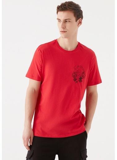 Mavi Kurukafa Baskılı Kırmızı Tişört Kırmızı
